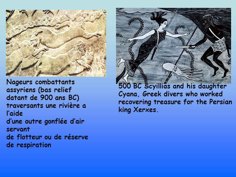500 BC Scyillias and his daughter Cyana, Greek divers who worked recovering treasure for the Persian king Xerxes. Nageurs combattants assyriens (bas r