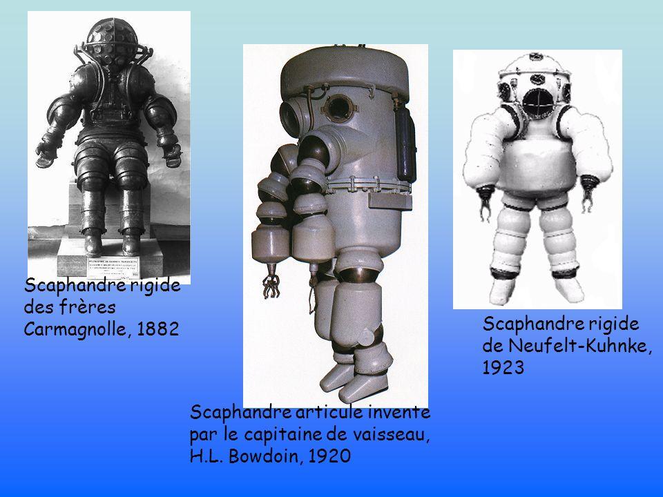 Scaphandre rigide de Neufelt-Kuhnke, 1923 Scaphandre rigide des frères Carmagnolle, 1882 Scaphandre articule invente par le capitaine de vaisseau, H.L.
