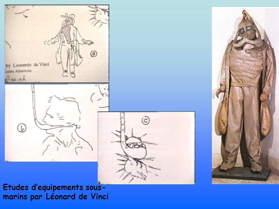 Leonardo da Vinci: breathing device Cane hoses fixed together by leather joints enabled the diver to breathe.