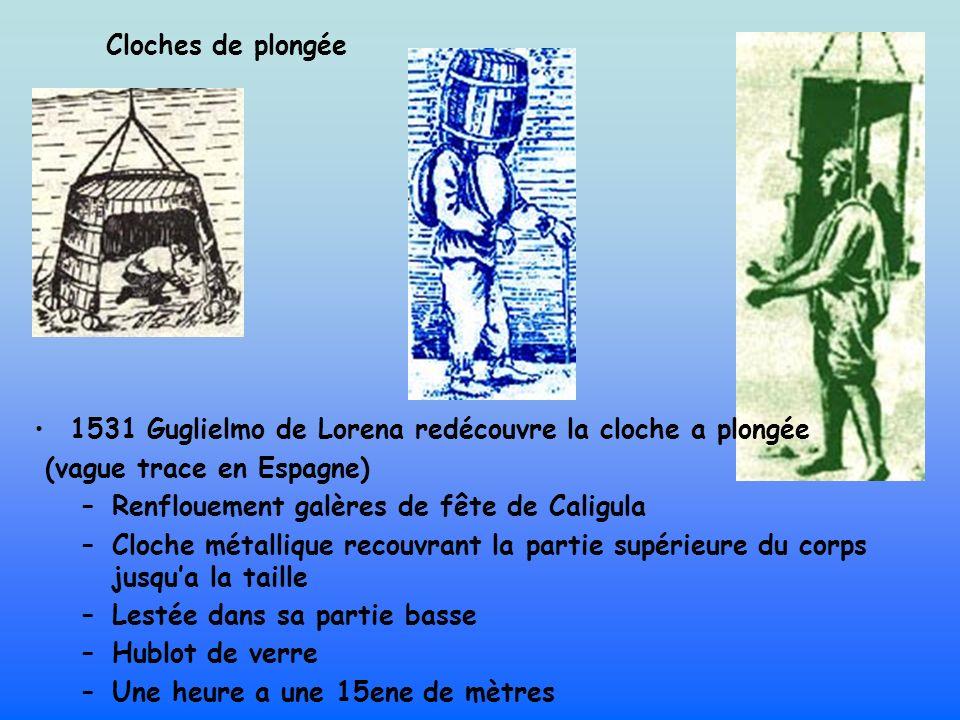 Cloches de plongée 1531 Guglielmo de Lorena redécouvre la cloche a plongée (vague trace en Espagne) –Renflouement galères de fête de Caligula –Cloche métallique recouvrant la partie supérieure du corps jusqua la taille –Lestée dans sa partie basse –Hublot de verre –Une heure a une 15ene de mètres