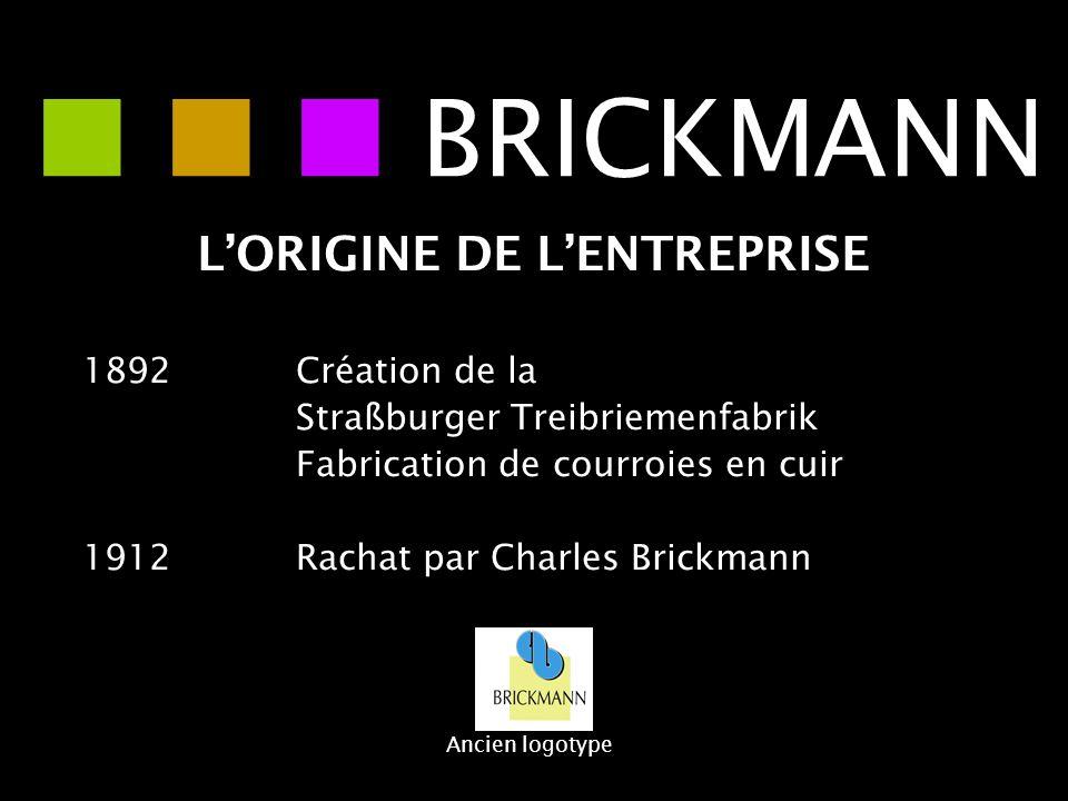 LORIGINE DE LENTREPRISE 1892Création de la Straßburger Treibriemenfabrik Fabrication de courroies en cuir 1912 Rachat par Charles Brickmann BRICKMANN