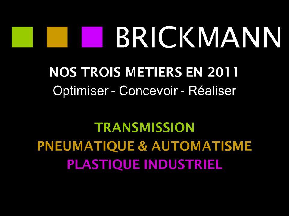 NOS TROIS METIERS EN 2011 Optimiser - Concevoir - Réaliser TRANSMISSION PNEUMATIQUE & AUTOMATISME PLASTIQUE INDUSTRIEL BRICKMANN