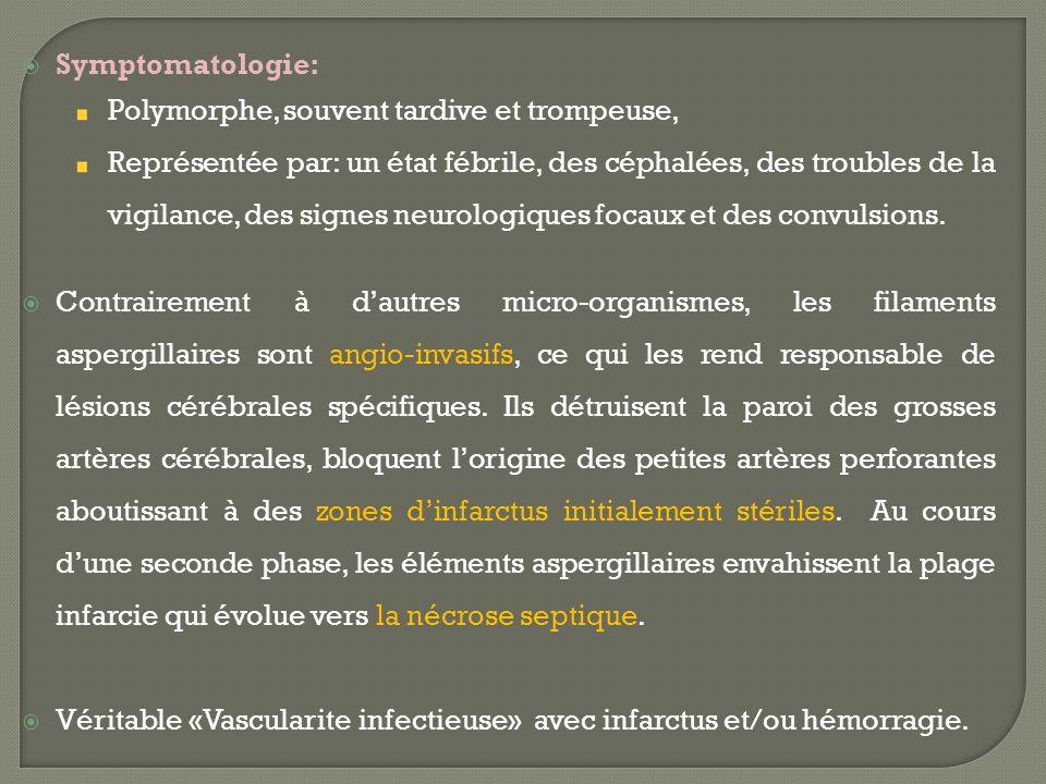 Symptomatologie: Polymorphe, souvent tardive et trompeuse, Représentée par: un état fébrile, des céphalées, des troubles de la vigilance, des signes n