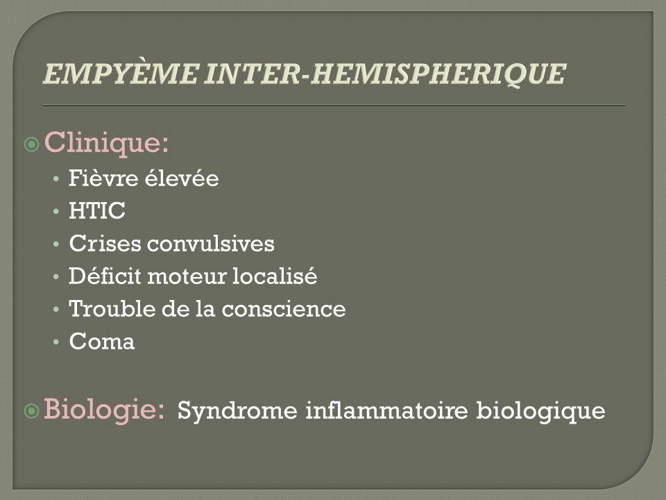 Clinique: Fièvre élevée HTIC Crises convulsives Déficit moteur localisé Trouble de la conscience Coma Biologie: Syndrome inflammatoire biologique