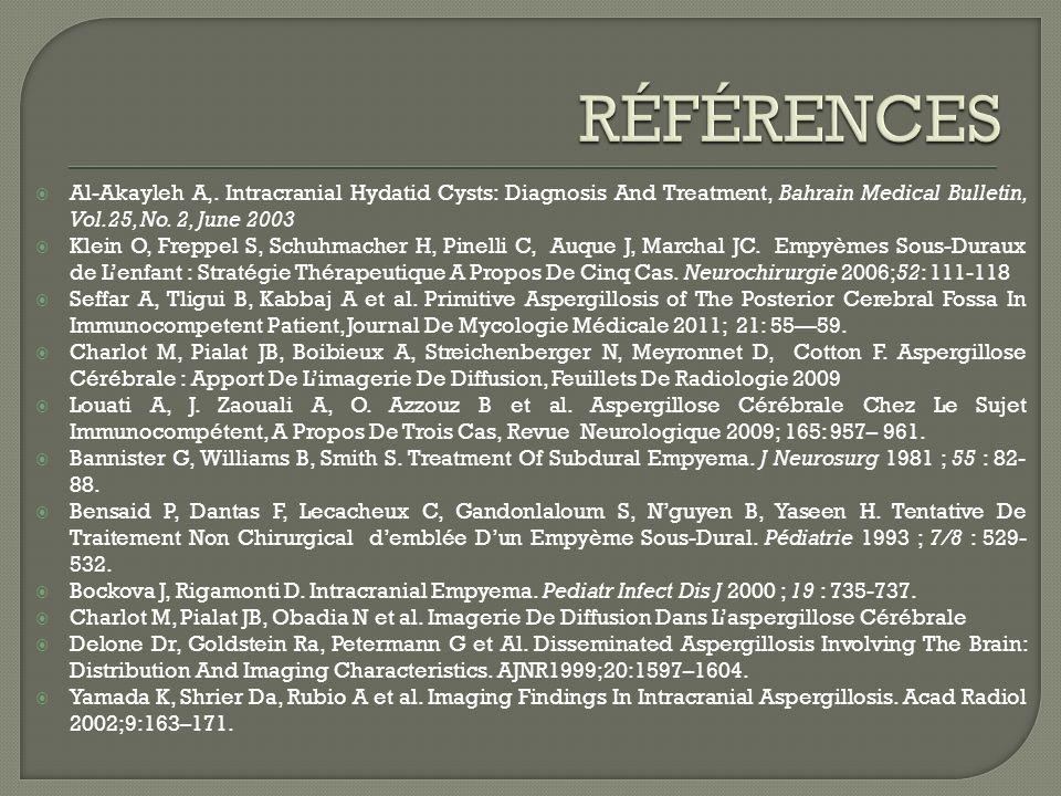 Al-Akayleh A,. Intracranial Hydatid Cysts: Diagnosis And Treatment, Bahrain Medical Bulletin, Vol.25, No. 2, June 2003 Klein O, Freppel S, Schuhmacher