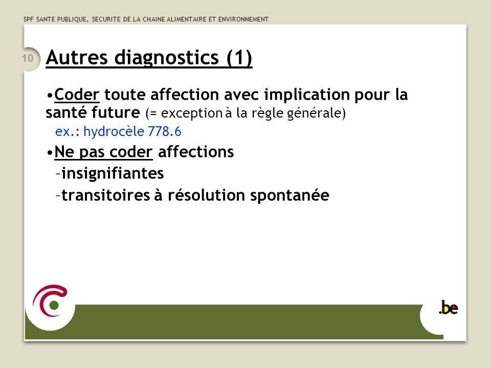 SPF SANTE PUBLIQUE, SECURITE DE LA CHAINE ALIMENTAIRE ET ENVIRONNEMENT 10 Autres diagnostics (1) Coder toute affection avec implication pour la santé
