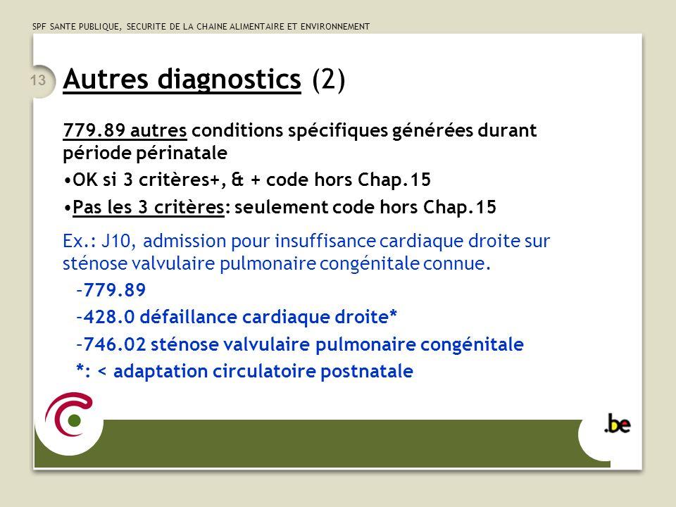 SPF SANTE PUBLIQUE, SECURITE DE LA CHAINE ALIMENTAIRE ET ENVIRONNEMENT 13 Autres diagnostics (2) 779.89 autres conditions spécifiques générées durant période périnatale OK si 3 critères+, & + code hors Chap.15 Pas les 3 critères: seulement code hors Chap.15 Ex.: J10, admission pour insuffisance cardiaque droite sur sténose valvulaire pulmonaire congénitale connue.