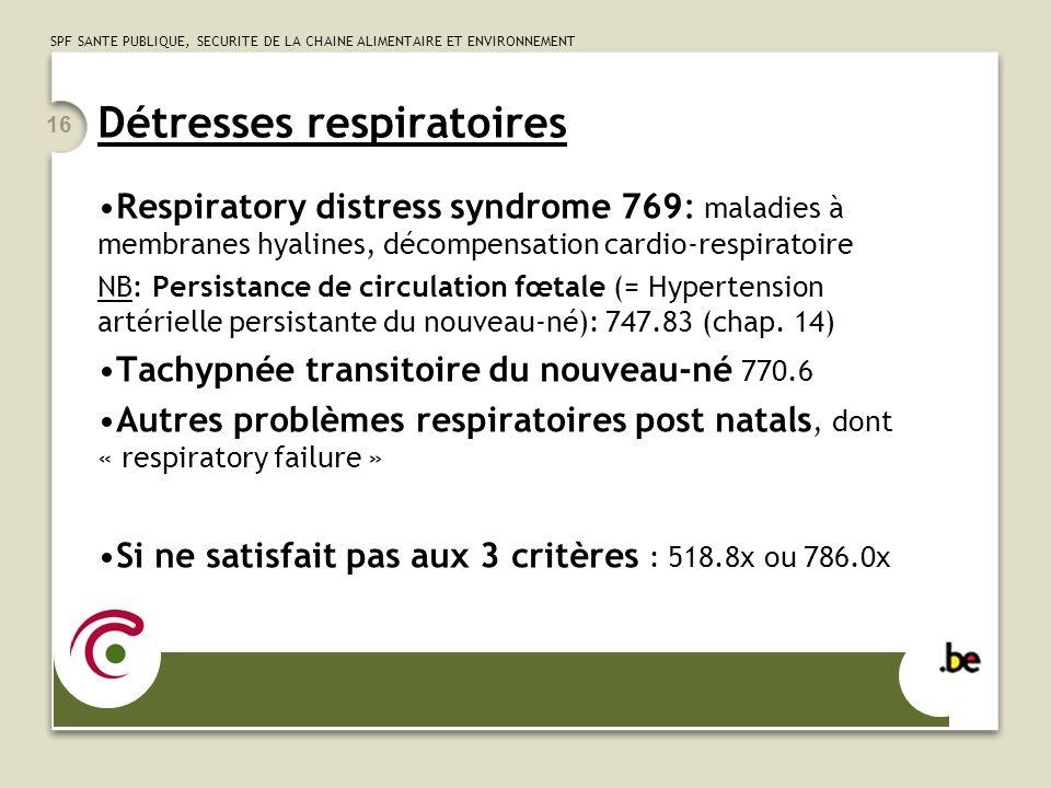 SPF SANTE PUBLIQUE, SECURITE DE LA CHAINE ALIMENTAIRE ET ENVIRONNEMENT 16 Détresses respiratoires Respiratory distress syndrome 769: maladies à membra