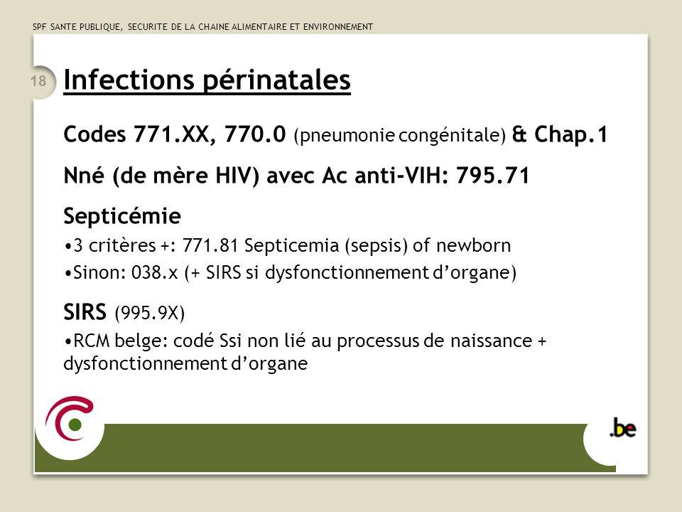 SPF SANTE PUBLIQUE, SECURITE DE LA CHAINE ALIMENTAIRE ET ENVIRONNEMENT 18 Infections périnatales Codes 771.XX, 770.0 (pneumonie congénitale) & Chap.1 Nné (de mère HIV) avec Ac anti-VIH: 795.71 Septicémie 3 critères +: 771.81 Septicemia (sepsis) of newborn Sinon: 038.x (+ SIRS si dysfonctionnement dorgane) SIRS (995.9X) RCM belge: codé Ssi non lié au processus de naissance + dysfonctionnement dorgane