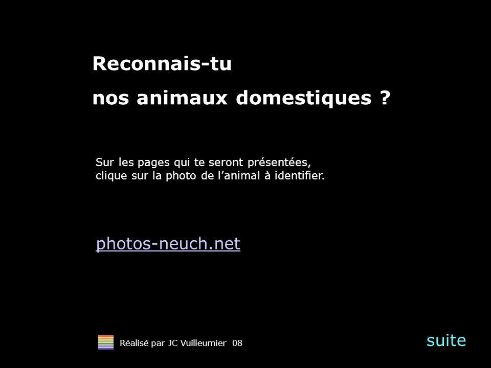 suite Réalisé par JC Vuilleumier 08 Reconnais-tu nos animaux domestiques ? Sur les pages qui te seront présentées, clique sur la photo de lanimal à id