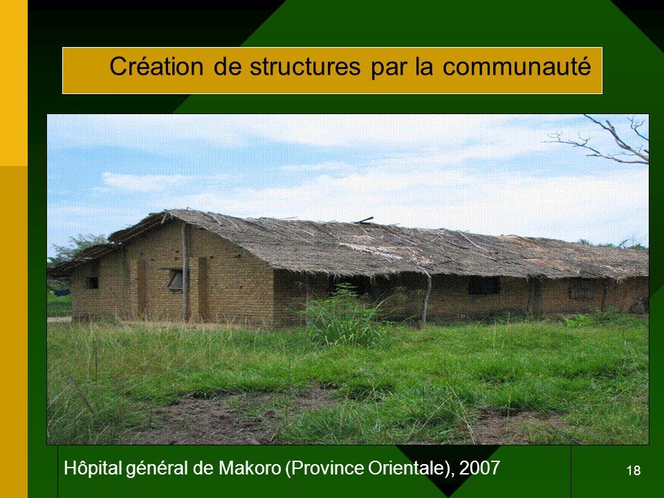 18 Hôpital général de Makoro (Province Orientale), 2007 Création de structures par la communauté