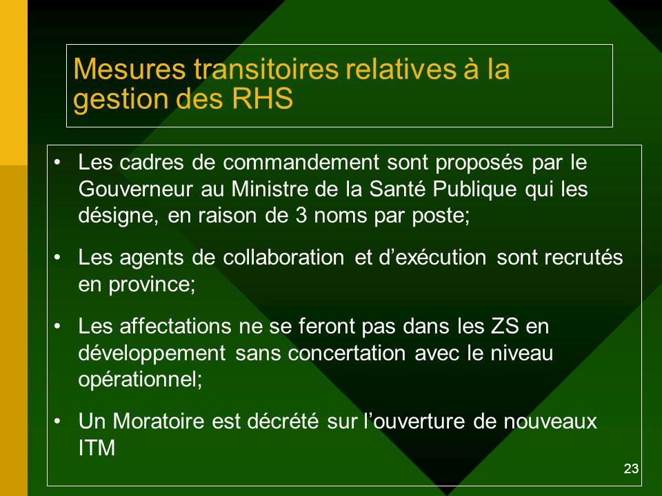 23 Mesures transitoires relatives à la gestion des RHS Les cadres de commandement sont proposés par le Gouverneur au Ministre de la Santé Publique qui