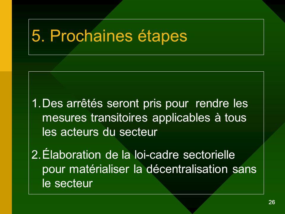 26 5. Prochaines étapes 1.Des arrêtés seront pris pour rendre les mesures transitoires applicables à tous les acteurs du secteur 2.Élaboration de la l
