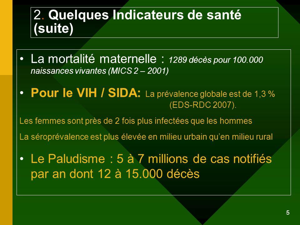 5 2. Quelques Indicateurs de santé (suite) La mortalité maternelle : 1289 décès pour 100.000 naissances vivantes (MICS 2 – 2001) Pour le VIH / SIDA: L