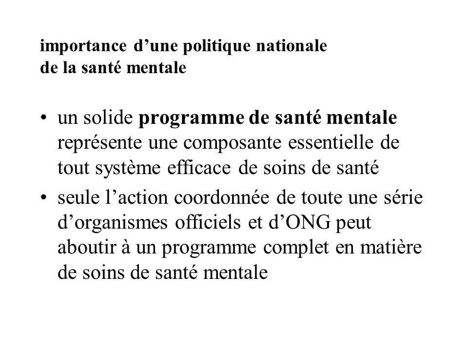 importance dune politique nationale de la santé mentale un solide programme de santé mentale représente une composante essentielle de tout système eff