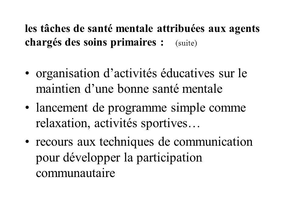 les tâches de santé mentale attribuées aux agents chargés des soins primaires : (suite) organisation dactivités éducatives sur le maintien dune bonne