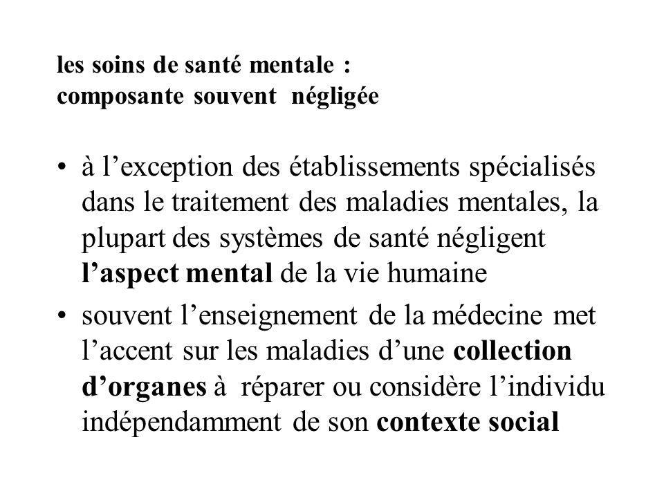 les soins de santé mentale : composante souvent négligée à lexception des établissements spécialisés dans le traitement des maladies mentales, la plup