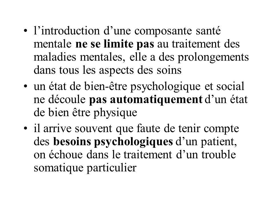lintroduction dune composante santé mentale ne se limite pas au traitement des maladies mentales, elle a des prolongements dans tous les aspects des s