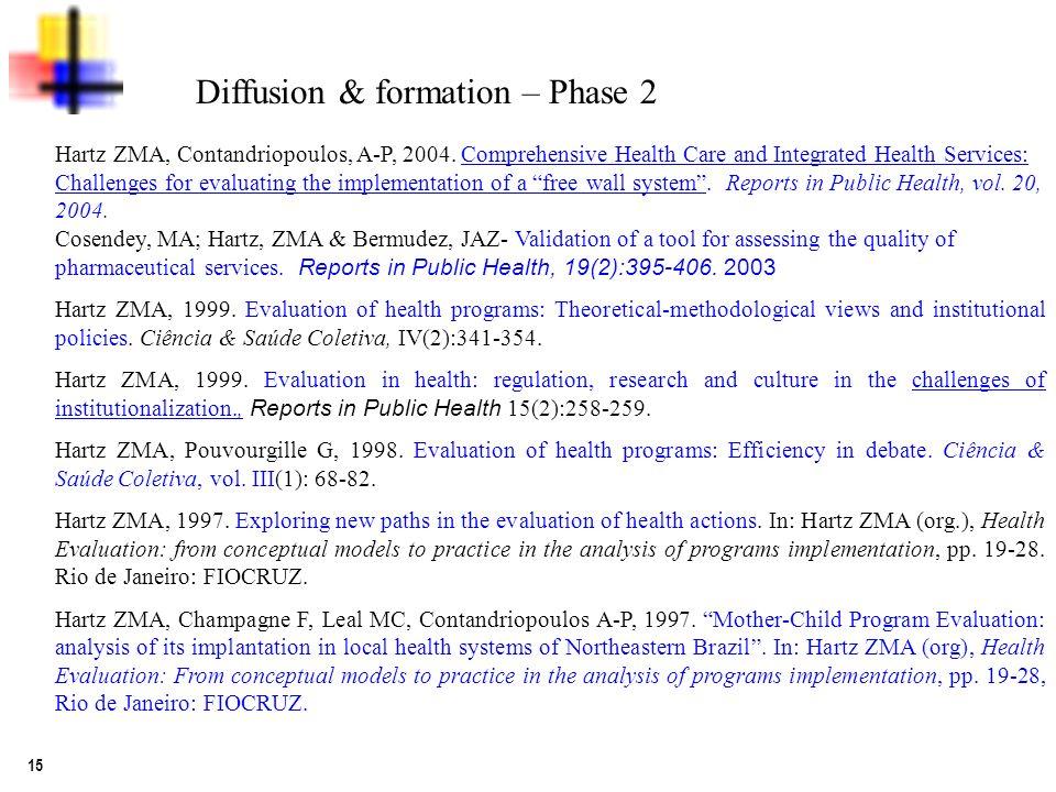 15 Diffusion & formation – Phase 2 Hartz ZMA, Contandriopoulos, A-P, 2004.