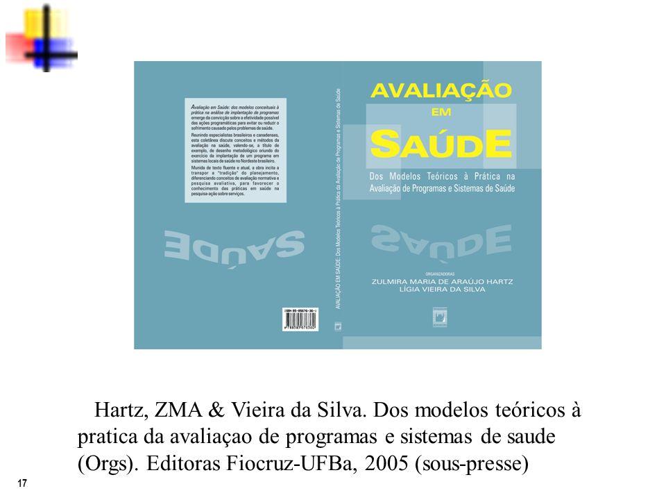 17 Hartz, ZMA & Vieira da Silva. Dos modelos teóricos à pratica da avaliaçao de programas e sistemas de saude (Orgs). Editoras Fiocruz-UFBa, 2005 (sou