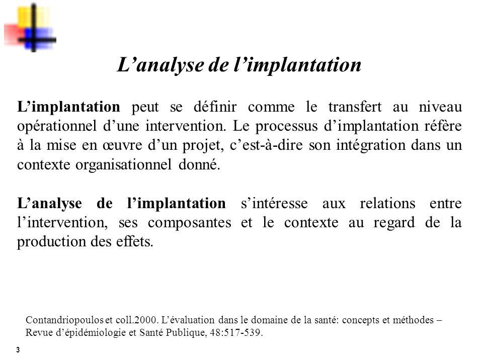 3 Lanalyse de limplantation Limplantation peut se définir comme le transfert au niveau opérationnel dune intervention. Le processus dimplantation réfè
