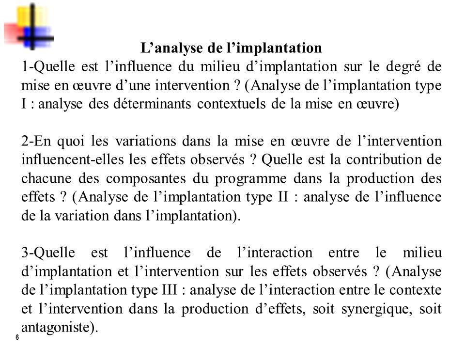 6 Lanalyse de limplantation 1-Quelle est linfluence du milieu dimplantation sur le degré de mise en œuvre dune intervention ? (Analyse de limplantatio