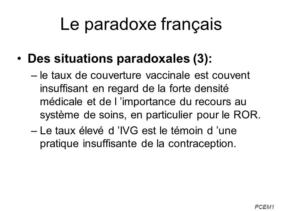 PCEM1 Le paradoxe français Des situations paradoxales (3): –le taux de couverture vaccinale est couvent insuffisant en regard de la forte densité médi