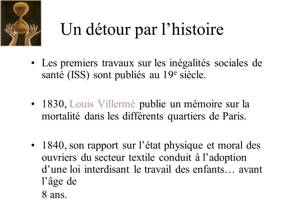 Un détour par lhistoire Les premiers travaux sur les inégalités sociales de santé (ISS) sont publiés au 19 e siècle. 1830, Louis Villermé publie un mé
