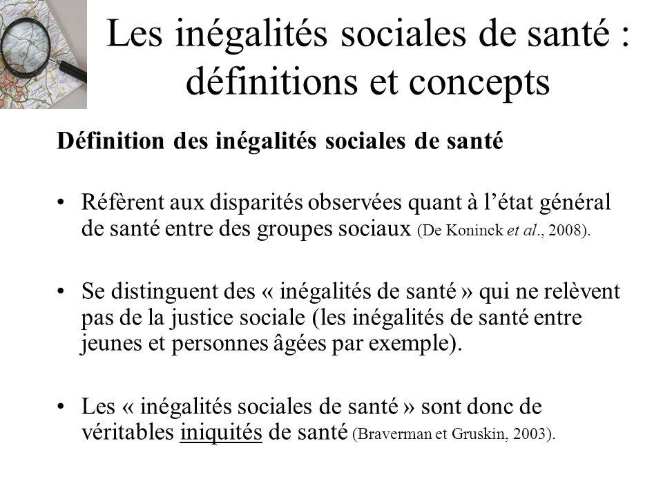Les inégalités sociales de santé : définitions et concepts Définition des inégalités sociales de santé Réfèrent aux disparités observées quant à létat