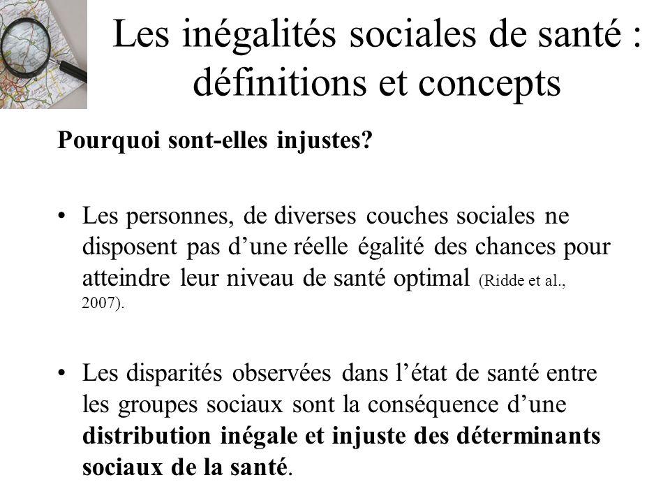 Les inégalités sociales de santé : définitions et concepts Pourquoi sont-elles injustes? Les personnes, de diverses couches sociales ne disposent pas