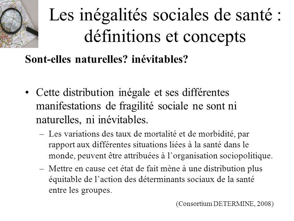 Les inégalités sociales de santé : définitions et concepts Sont-elles naturelles? inévitables? Cette distribution inégale et ses différentes manifesta