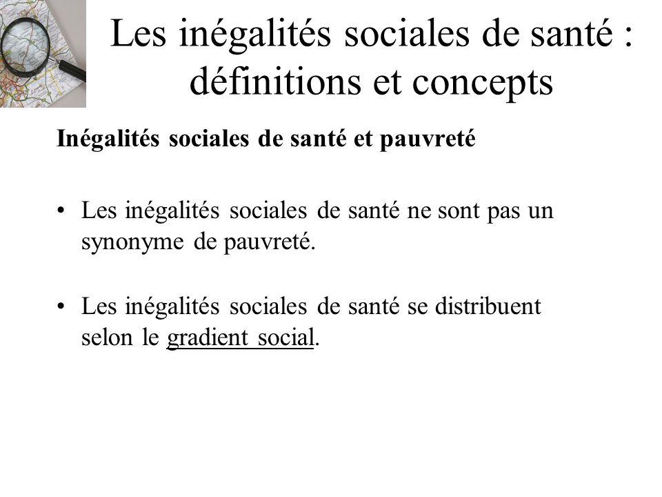 Les inégalités sociales de santé : définitions et concepts Inégalités sociales de santé et pauvreté Les inégalités sociales de santé ne sont pas un sy