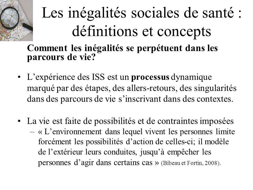 Les inégalités sociales de santé : définitions et concepts Comment les inégalités se perpétuent dans les parcours de vie? Lexpérience des ISS est un p