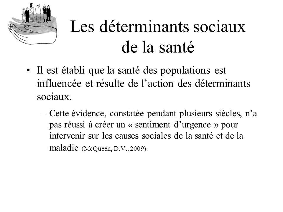 Les déterminants sociaux de la santé Il est établi que la santé des populations est influencée et résulte de laction des déterminants sociaux. –Cette