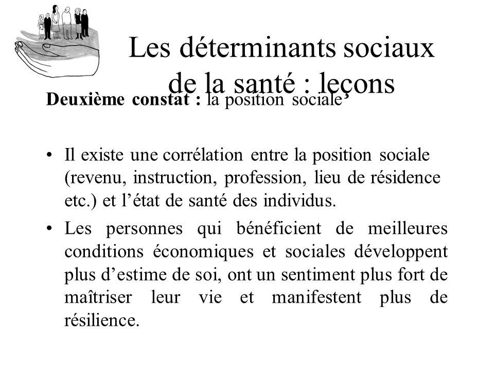 Les déterminants sociaux de la santé : leçons Deuxième constat : la position sociale Il existe une corrélation entre la position sociale (revenu, inst