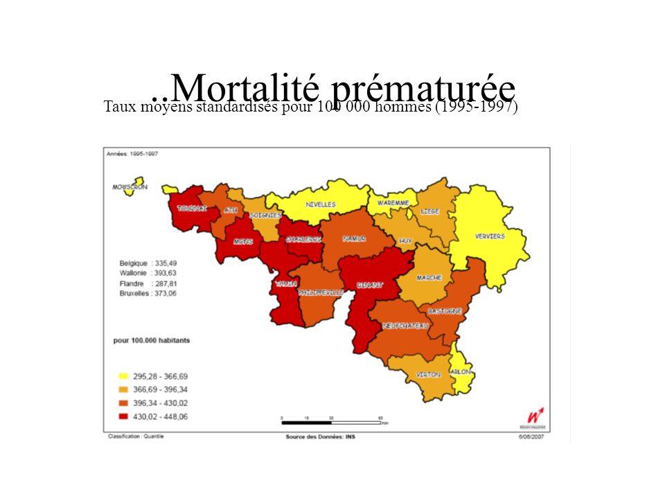 ..Mortalité prématurée Taux moyens standardisés pour 100 000 hommes (1995-1997)