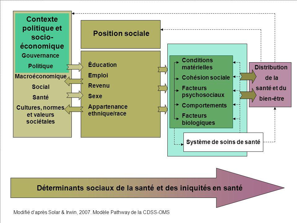 Contexte politique et socio- économique Gouvernance Politique Macroéconomique Social Santé Cultures, normes et valeurs sociétales Position sociale Édu