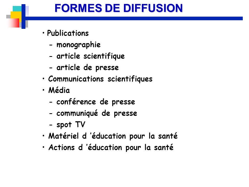 FORMES DE DIFFUSION Publications - monographie - article scientifique - article de presse Communications scientifiques Média - conférence de presse -