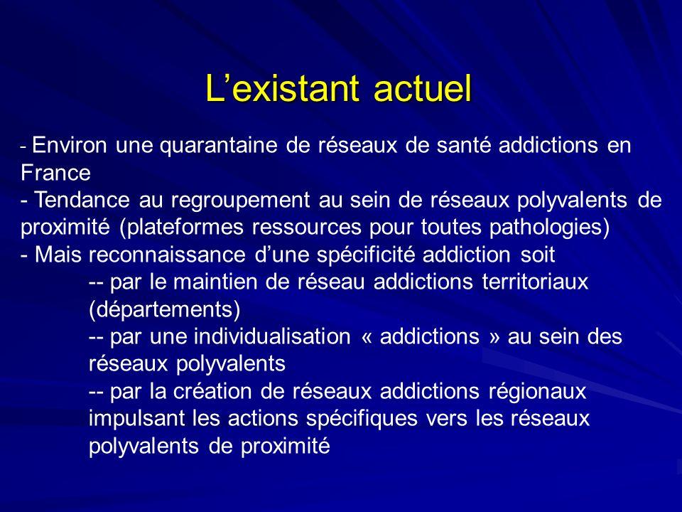Lexistant actuel - Environ une quarantaine de réseaux de santé addictions en France - Tendance au regroupement au sein de réseaux polyvalents de proxi