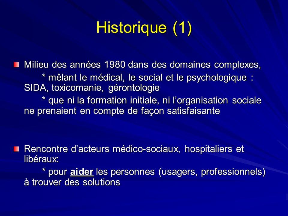 Historique (1) Milieu des années 1980 dans des domaines complexes, * mêlant le médical, le social et le psychologique : SIDA, toxicomanie, gérontologi