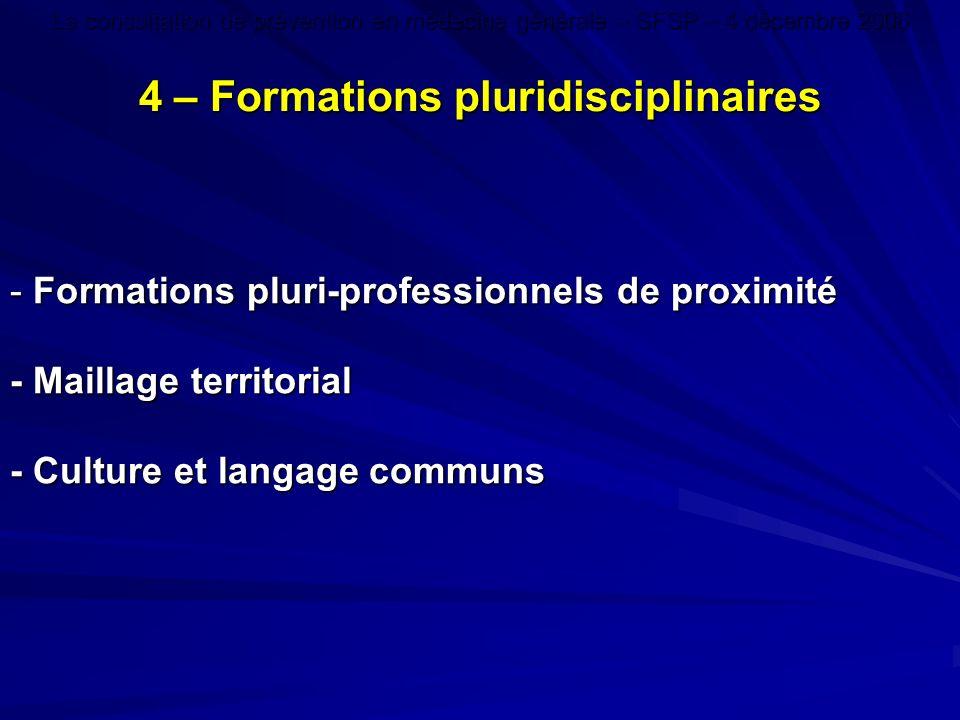 - Formations pluri-professionnels de proximité - Maillage territorial - Culture et langage communs 4 – Formations pluridisciplinaires La consultation