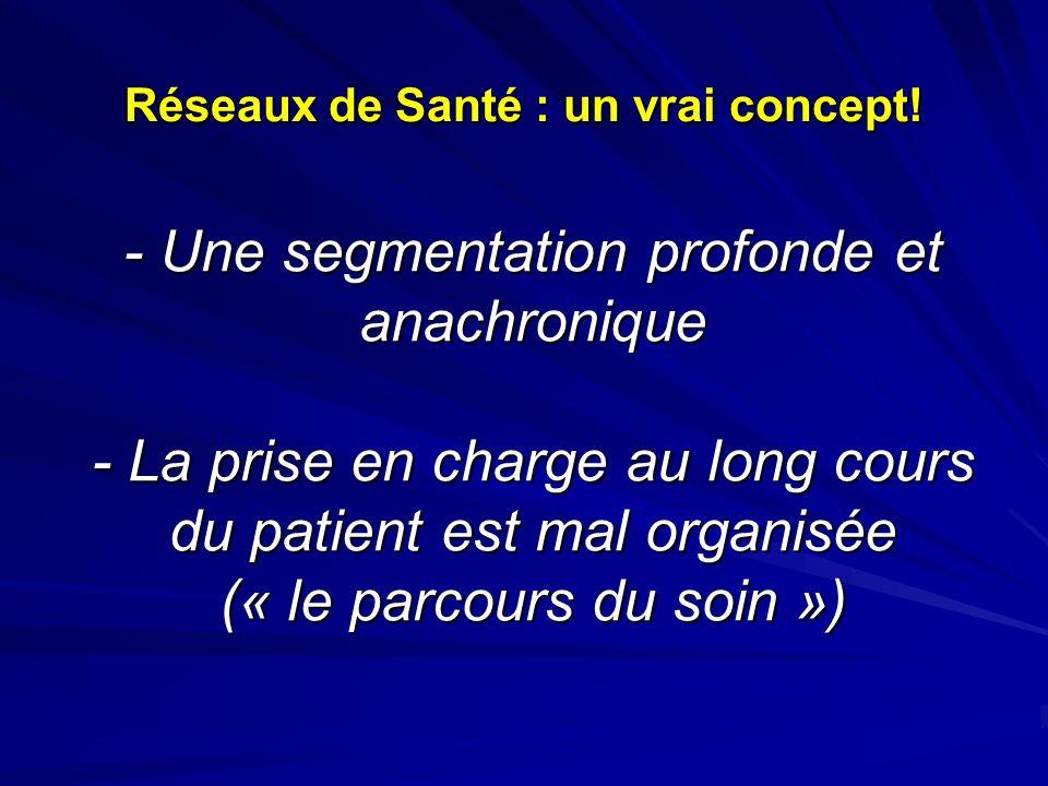 - Une segmentation profonde et anachronique - La prise en charge au long cours du patient est mal organisée (« le parcours du soin ») Réseaux de Santé : un vrai concept!