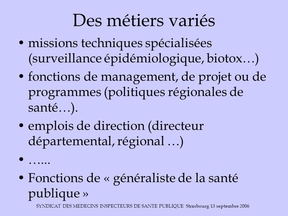 SYNDICAT DES MEDECINS INSPECTEURS DE SANTE PUBLIQUE Strasbourg 13 septembre 2006 Des métiers variés missions techniques spécialisées (surveillance épi