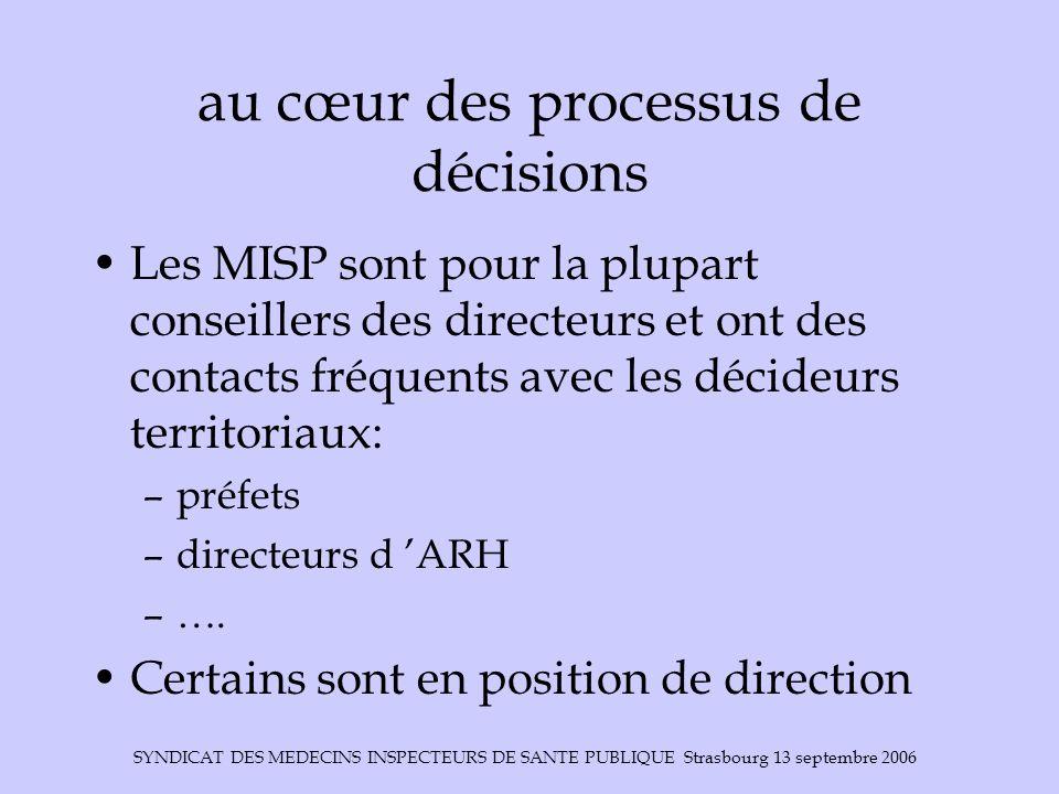 SYNDICAT DES MEDECINS INSPECTEURS DE SANTE PUBLIQUE Strasbourg 13 septembre 2006 au cœur des processus de décisions Les MISP sont pour la plupart cons