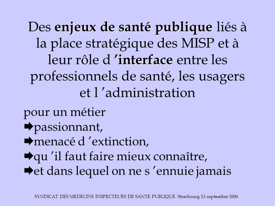 SYNDICAT DES MEDECINS INSPECTEURS DE SANTE PUBLIQUE Strasbourg 13 septembre 2006 enjeux de santé publique interface Des enjeux de santé publique liés