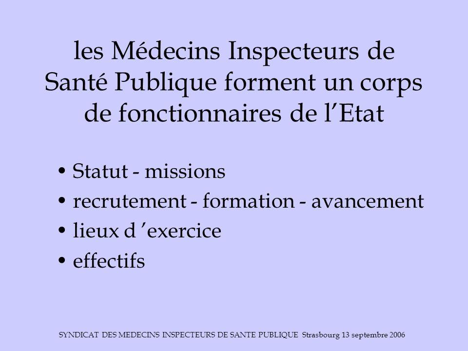 SYNDICAT DES MEDECINS INSPECTEURS DE SANTE PUBLIQUE Strasbourg 13 septembre 2006 missions (article 2 du statut) les membre du corps des médecins inspecteurs de santé publique participent à la conception, à la mise en œuvre, à lexécution et à lévaluation de la politique de santé publique.