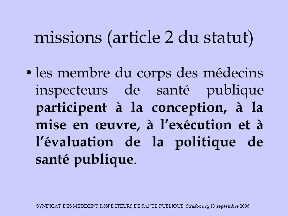 SYNDICAT DES MEDECINS INSPECTEURS DE SANTE PUBLIQUE Strasbourg 13 septembre 2006 missions (article 2 du statut) les membre du corps des médecins inspe