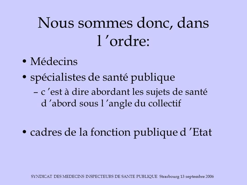 SYNDICAT DES MEDECINS INSPECTEURS DE SANTE PUBLIQUE Strasbourg 13 septembre 2006 Nous sommes donc, dans l ordre: Médecins spécialistes de santé publiq