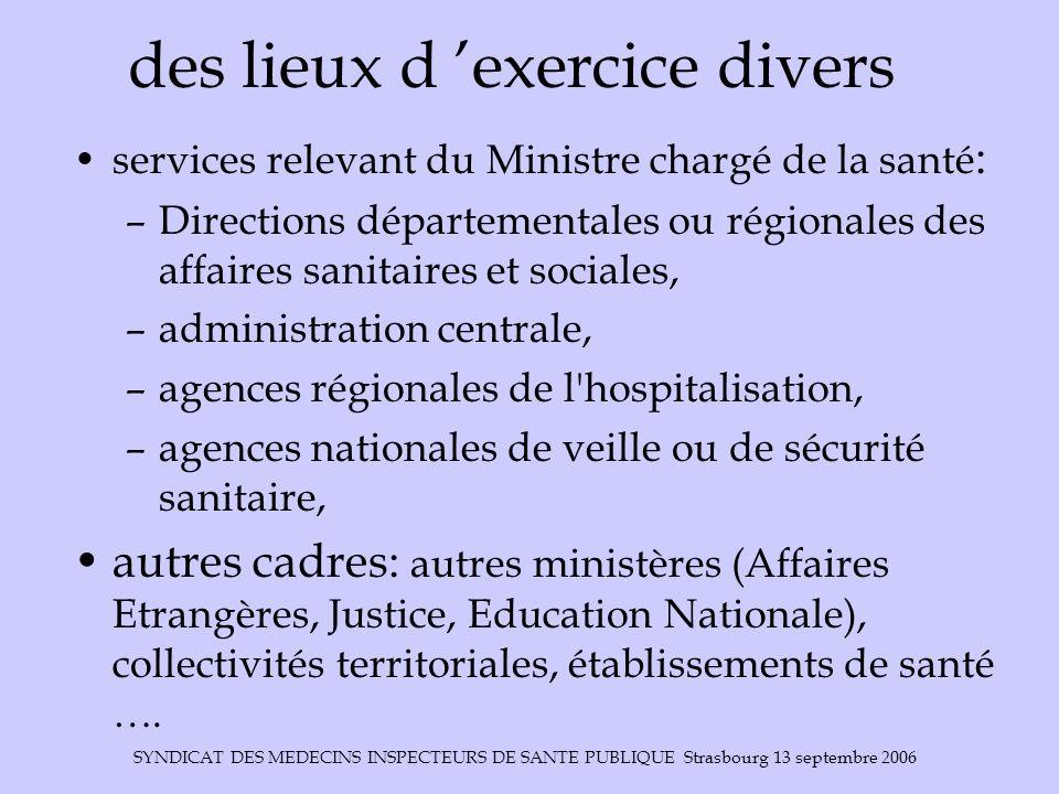 SYNDICAT DES MEDECINS INSPECTEURS DE SANTE PUBLIQUE Strasbourg 13 septembre 2006 des lieux d exercice divers services relevant du Ministre chargé de l