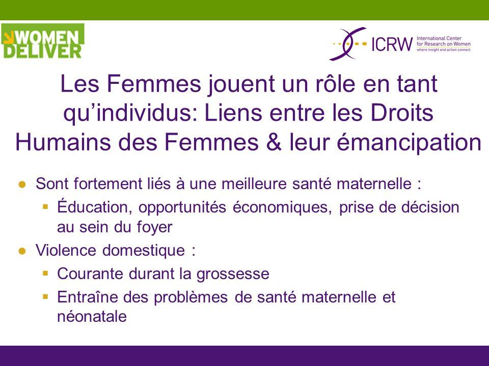 Les Femmes jouent un rôle en tant quindividus: Liens entre les Droits Humains des Femmes & leur émancipation Sont fortement liés à une meilleure santé